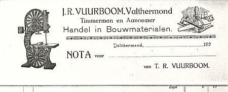 Vuurboom factuur ong. 1920