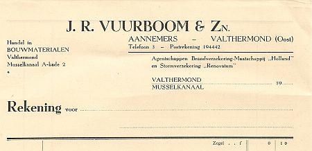 Vuurboom factuur ong. 1950
