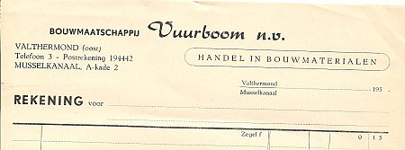 Vuurboom factuur ong. 1960